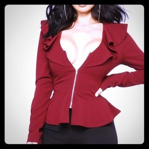 Fashion Nova peplum zip up blazer
